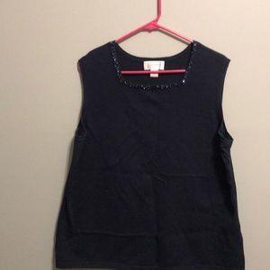 Christopher & Banks navy sleeveless sweater